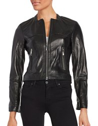 Vince Camuto Front Zip Leather Moto Jacket Black