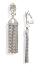 Vince Camuto Pave Tassel Earrings Silver