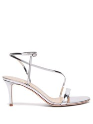 Gianvito Rossi Carlyle 70 Patent Leather Sandals Silver