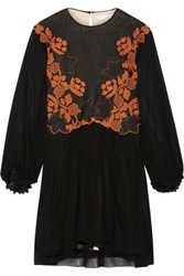 Chloe Embroidered Linen And Silk Chiffon Mini Dress Black