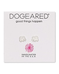 Dogeared Elephant Stud Earrings Silver