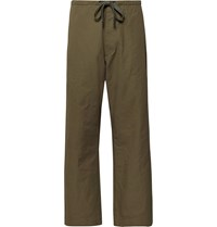 Chimala Cropped Wide Leg Cotton And Linen Blend Twill Drawstring Trousers Green