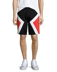 Neil Barrett Colorblock Neoprene Shorts Black Red White
