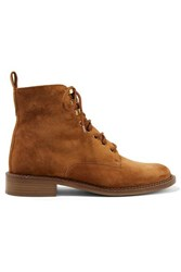 Vince Cabria 3 Shearling Trimmed Suede Ankle Boots Tan