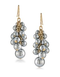 Carolee 12K Goldplated Cluster Drop Pierced Earrings Pearl