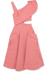 Carven Asymmetric Cutout Cotton Blend Chambray Midi Dress Pink