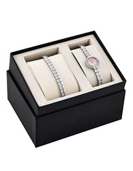Bulova Crystal Accented Stainless Steel Watch And Tennis Bracelet Box Set Silver
