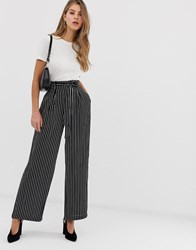 Qed London Stripe Belted Palazzo Trousers Multi