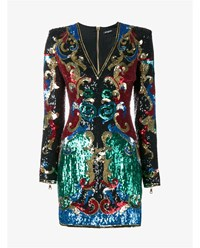 Balmain Sequin Embellished Dress Black Multi Coloured Yellow