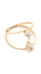 Mirlo Pear Duo Ring Gold Clear