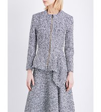 Roland Mouret Elen Peplum Hem Tweed Boucle Jacket Navy