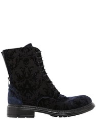 Fru.It 20Mm Printed Velvet Lace Up Ankle Boots