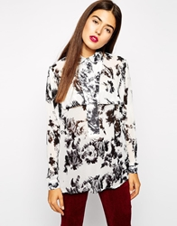 Goldie Vibe Blouse In Mono Floral Print Monofloral