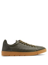 Loewe Round Toe Leather Low Top Trainers Khaki