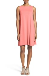 Eileen Fisher Women's Lightweight Jersey Bateau Neck Knee Length Dress Pink Grapefruit