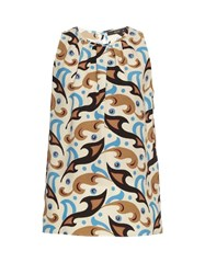 Etro Abstract Paisley Print Sleeveless Silk Crepe Top
