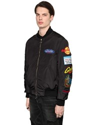 Gcds Embroidered Patches Canvas Bomber Jacket