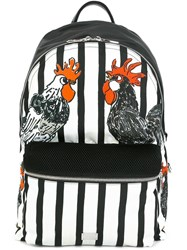 Dolce And Gabbana Volcano Rooster Print Backpack Black