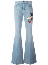 Gucci Embroidered Flared Denim Jeans Blue