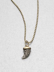 Sydney Evan Pave Diamond 14K Yellow Gold Horn Pendant Necklace