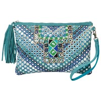 East Mirror Embroidered Suede Clutch Bag Turquoise
