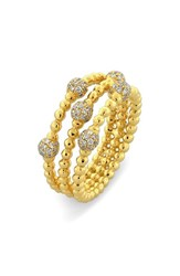 Women's Bony Levy Pave Ball Bead Crossover Diamond Ring Yellow Gold