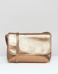 Asos Metallic Soft Leather Cross Body Bag Copper
