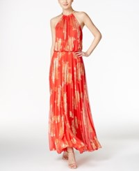 Msk Metallic Print Pleated Blouson Gown Coral Gold