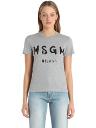 Msgm Logo Print Cotton Jersey T Shirt Grey