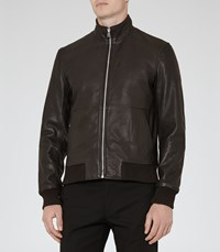 Reiss Bruno Mens Funnel Neck Bomber Jacket In Brown