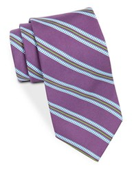 Brooks Brothers Silk Houndstooth Striped Tie Purple