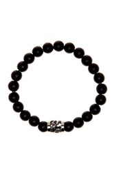 Jean Claude Dragon Charm Matte Black Onyx Bead Stretch Bracelet Beige