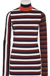 Victoria Beckham Striped Stretch Wool Blend Turtleneck Sweater Navy