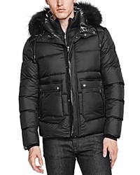 The Kooples Soft Nylon And Leather Puffer Coat Black