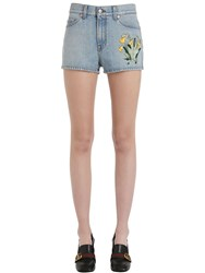 Gucci Embroidered Cotton Denim Shorts