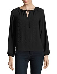 Lord And Taylor Petite Solid Embroidered Peasant Blouse Black