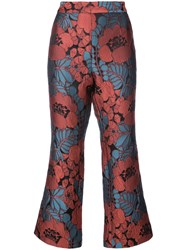 Natori Kick Flare Cropped Trousers Acrylic Polyester Red