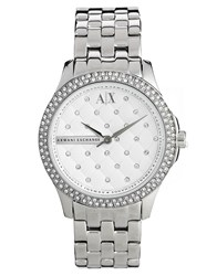 Armani Exchange Lady Hampton Silver Diamante Watch Silver
