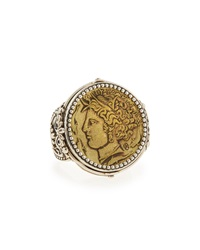 Silver And Bronze Demeter Coin Ring Konstantino