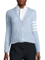 Thom Browne Cashmere Striped Cardigan Light Pink Light Blue