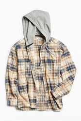 Urban Outfitters Uo Bleached Hooded Flannel Button Down Shirt Cream