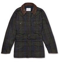 Kingsman Mackintosh Merlin's Leather Trimmed Checked Waxed Cotton Field Jacket Navy