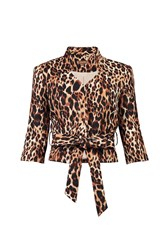Jolie Moi Leopard Print High Collar Belted Blazer Brown