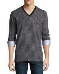 Maceoo V Neck Jacquard Square Top Gray