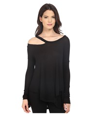 Brigitte Bailey Cassidy Long Sleeve Ripped Top Black Women's Clothing