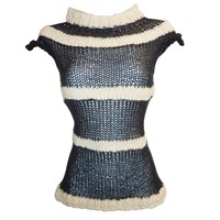 Claire Andrew Stripe Knit Top With Cap Sleeve Black Nude Neutrals