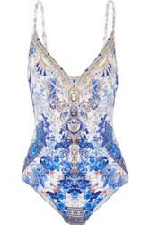 Camilla Painted Provincial Embellished Printed Swimsuit Bright Blue