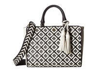 Tory Burch Robinson Woven Leather Small Zip Satchel Black New Ivory