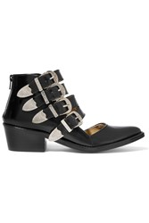 Toga Pulla Buckled Cutout Glossed Leather Ankle Boots