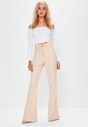 Missguided Tall Exclusive Nude Lace Up Flare Trousers